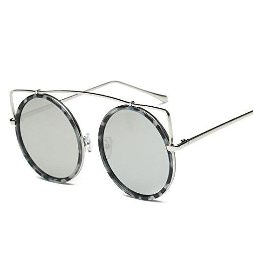 Zolimx Damen Katze Ohr Sonnenbrille, Metallrahmen Sonnenbrille, Marke Classic Tone Mirror Sonnenbrille (Weiß)