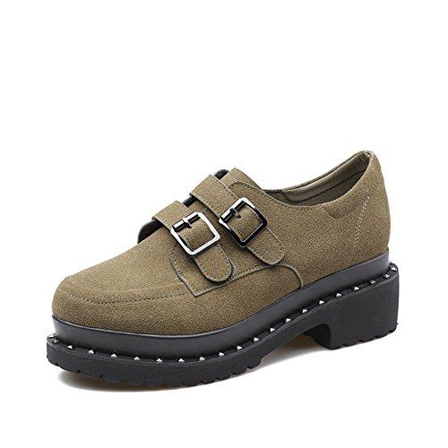 Ceinture boucle chaussures occasionnelles au printemps/vintage chunky talons chaussures/Sabot de tête ronde A