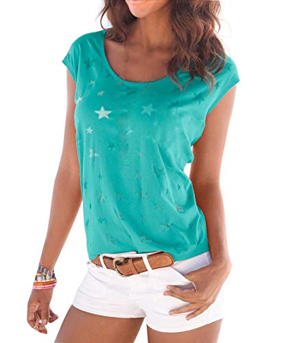 Uniquestyle Damen Sommer T-Shirt Kurzarmshirt mit Sternen Druck Rundhals Lässige Stretch Bluse Tops Oberteil Shirts Mint M
