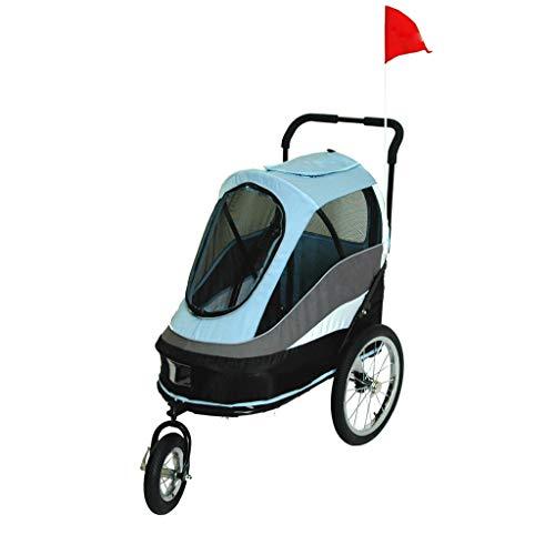 JKL Pet Kinderwagen Luxuswagen Hund ziehen Wagen Putin Hirtenwagen, leicht Faltbare Reise Haustier Auto, Last 25kg (Farbe : Blau)