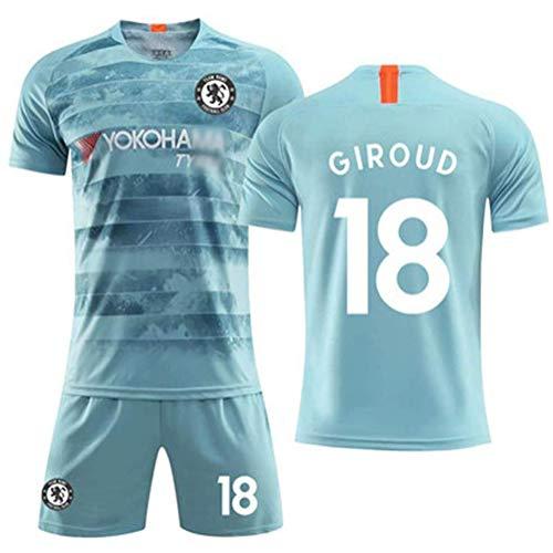 Hhwei Fußballuniform #18 Passen Kind Kurz Ärmel Trikot und Shorts Jungs Mädchen Trainingsanzug Chelsea Football Club Olivier Giroud,XL