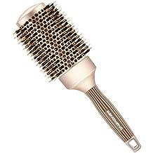 BANGMENG Cepillo de pelo antiestático de barril redondo con cerdas de jabalí, Nano Thermal Ceramic