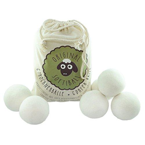 Original Softiball natürliche Trockner-Bälle (6er Pack) für Wäschetrockner - handgefertigt aus 100% Premium-Schafwolle - die umweltschonende Alternative zum chemischen Weichspüler - Trocknerkugeln
