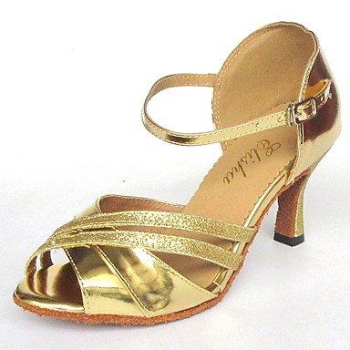 XIAMUO Angepasste's Classic Frauen Silber Kunstleder und Glitter obere Salsa Latin Dance Shoe Silber