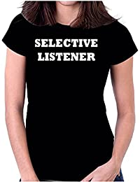 Snoogg Selective Listener Casual Slogan / Black Colour Round Neck Printed Cotton T Shirt For Women