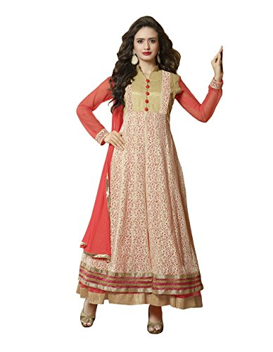 Viha Peach Net Pure Georgette Designer Anarkali Suit  available at amazon for Rs.1999
