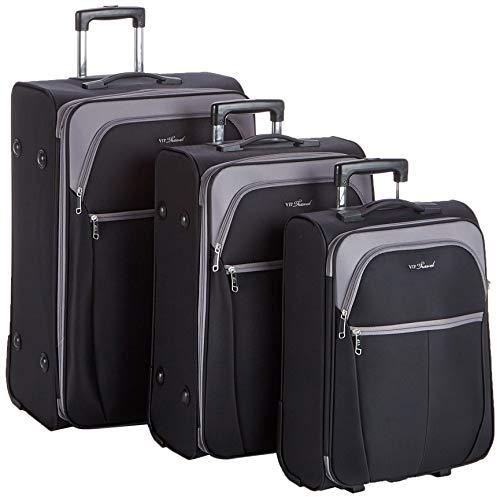 Stabiler weich Handgepäck koffer von Wittchen Trolley Bordgepäck Reisekoffer Schwarz und grau 2,1kg