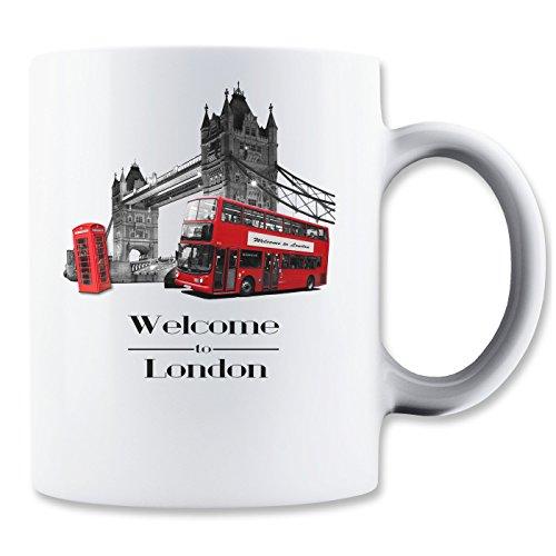 Welcome to London Bus Telephone Bridge Graphic Design Mug