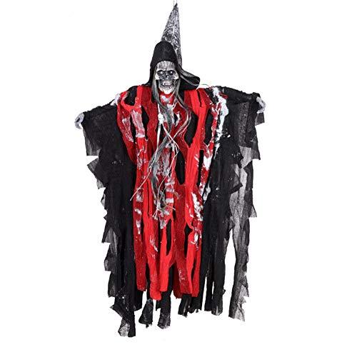 Halloween-Dekoration, Halloween-Geister, hängend, Horror-elektrischer Totenkopf, Geister für Geisterhaus, Halloween-Dekoration, rot