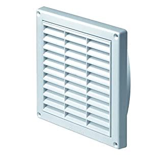 White Air Vent Grille 165mm x 165mm with Adjustable Shutter Fly Screen / Mesh and 100mm / 4