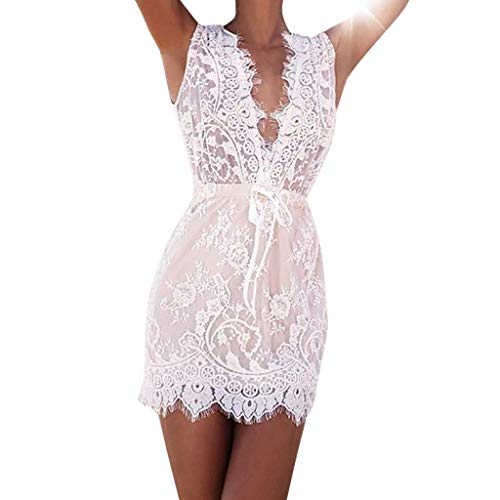 e2120ec121c Pinmaoo Women Solid Slim Hollow Sling Cross Lace Bow Bodycon Party Evening  Deep V-Neck