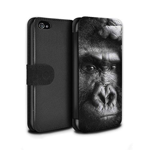 Stuff4® PU-Leder Hülle/Case/Tasche/Cover für Apple iPhone 4/4S / Gorilla/AFFE Muster/Wilde Tiere Kollektion (4s Iphone Affe)