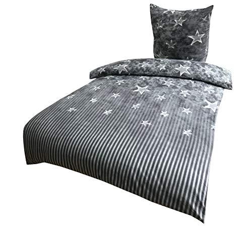 Leonado Vicenti 2 TLG Fleece Bettwäsche 135x200 cm grau weiß Sterne gestreift Kuschel Flausch Winter Set mit Reißverschluss