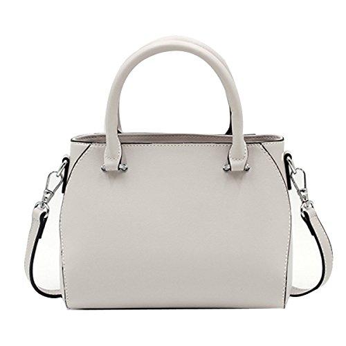 Frauen Faux-Leder-Aktenkoffer Messenger Bag Damen Handtaschen Multicolor White