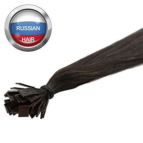 Extensions Cheveux Kératine 100 mèches russes 1gr Brun 50cm