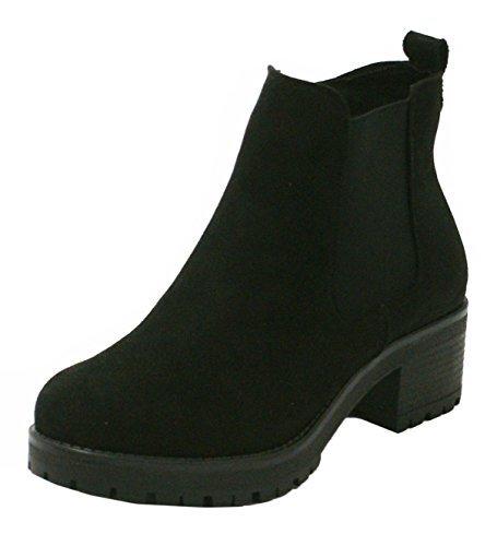 femmes fermeture éclair Élastique Élastique Extensible bas talon bloc prise SEMELLE hiver Chelsea Cheville Bottes Chaussures - F43
