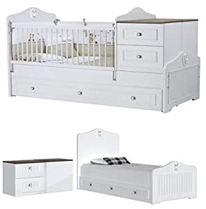 baby bett gitterbett golf das mitwachsende baby kinderbett klare linien klassisches design. Black Bedroom Furniture Sets. Home Design Ideas