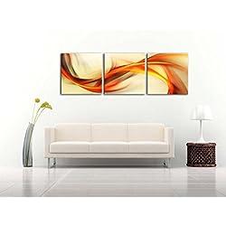 Leinwanddruck mit abstraktem, eleganten Motiv, Wellenmotiv in orange und gold auf weißem Hintergrund, 3-teilig, modern, Giclée-Druck, gerahmte Kunstwerke, Bilder, Fotos, Drucke