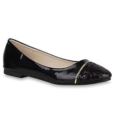 Klassische Damen Ballerinas Metallic Glitzer Flats Party Schuhe
