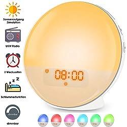 Lichtwecker LED Wake Up Light, Wecker mit Sonnenaufgangssimulation, Tageslichtwecker FM Radio Wecker mit Licht 7 Farben, 7 Wecktöne Wecker Kinder Alarm Clock Digital Uhr Nachtlicht Nachttischlampe