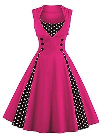 Minetom Femmes des Années 50 Elégantes Polka Dots Robe avec Boutons Vintage Rockabilly Swing Cocktail Party Robe Rose FR 44