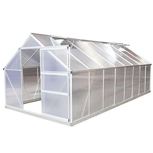 Gewächshaus Aluminium 7,8m³ - 19m³ mit Fundament - Frühbeet Pflanzenhaus Tomatenhaus verschiedene Größen (19 m³)
