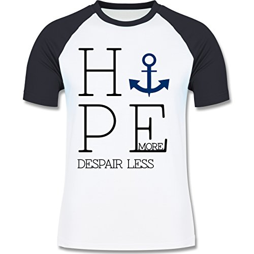 Statement Shirts - Hope more despair less - zweifarbiges Baseballshirt für Männer Weiß/Navy Blau
