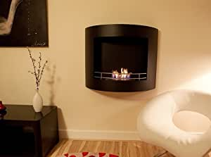 Flueless fire - Crescent Black Bio ethanol fire (hangs on a wall like a picture)