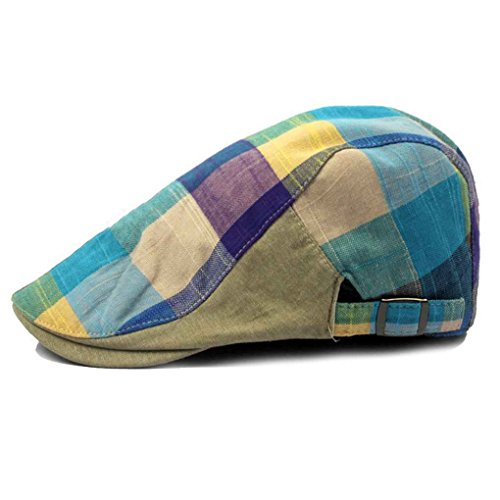 Bobury Hombres Color Lattice Cap Hat Boina Hat Ajustable
