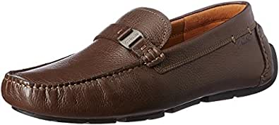 Clarks Men's Davont Saddle Brown Tumb Leather Loafers and Mocassins - 10 UK