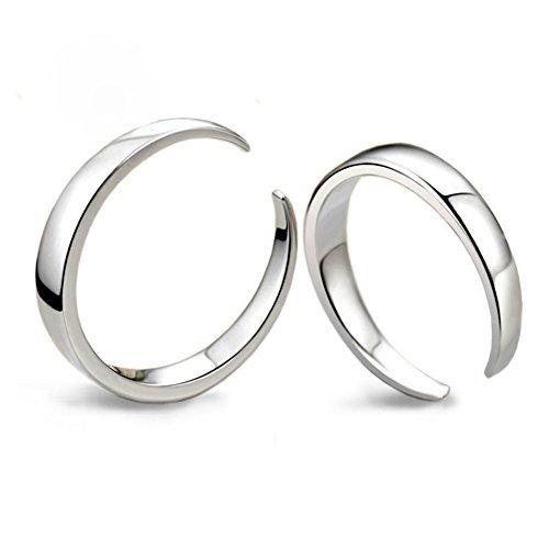 huiyin Jewelry® 14K oro bianco placcato S925Sterling argento puro semplice Aperto paio anelli per gli amanti del 1Confezione - 1 Anello Placcato Oro Bello