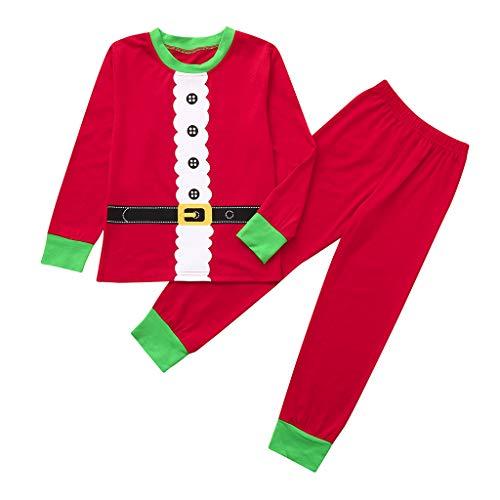 (i-uend Baby Weihnachten 2 Stück Sets - Jungen Mädchen Patchwork Tops Hosen Familie Pyjamas Nachtwäsche Passende Weihnachtssets für 1-7 Jahre)
