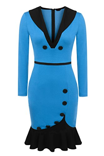 ZEARO Damen Kleid Abendkleid Casual VAusschnitt Langarm Fishtail dünne  Bleistift elegantes Kleid Oberkleidung Dress Skirt Tops Blau