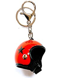 Gemelolandia Llavero Casco de Moto Rojo y Estrella Negra