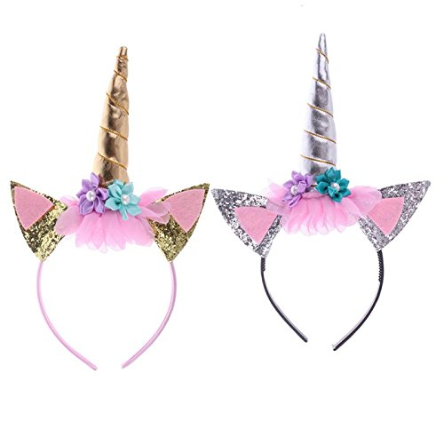 and glänzend Einhorn Horn Glitzer Stirnband Horn Party Kleid Blumen Haarband Einhorn Cosplay Kostüm Kinder Party Supplies von toyzhijia (Einzigartige Kinder Halloween Kostüme Ideen)