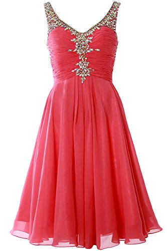 MACloth Women V Neck Crystal Short Homcoming Dress Cocktail Party Evening Gown Wassermelone