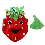 Gazechimp Kinder Kleinkind Kostüm Erdbeere aus Flanell zu Karneval Fasching