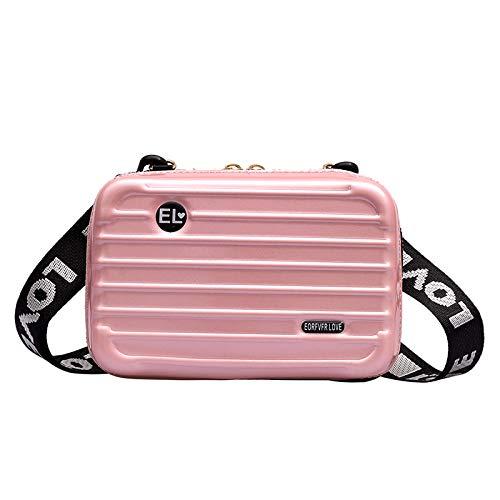 Leobtain Girls Ladies Mini Suitcase Cosmetic Bags Waterproof Crashproof Hard Cosmetic Portable Travel Case Double Zipper Messenger Bags for Women Leisure Mini Chain Suitcase Single Shoulder Bag -