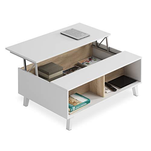 Habitdesign 0F6633BO Table centrale élevable pour salle à manger, salon, en chêne des marais, 100 x 41 x 68 cm Blanc brillant