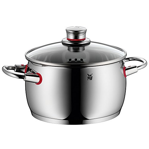 WMF cookware Ø 20 cm approx. 4,1l Quality One vapor hole glass lid Cromargan stainless steel brushed suitable for all stove tops including induction dishwasher-safe