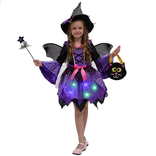 Diablo Mädchen Kostüm - YXRL Hexe Cosplay Kostüm - Kinder Lustiges Kleid Kostüm Anzug Perfekt Für Weihnachten Halloween Party Rollenspiel Light-M