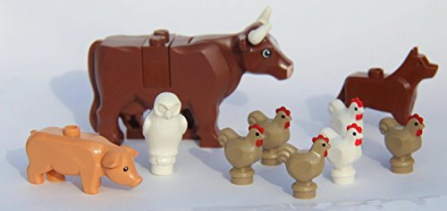 LEGO-City-Farm-Lot-2-Brown-Cow-Pig-Dog-Owl-and-Chickens-by-LEGO