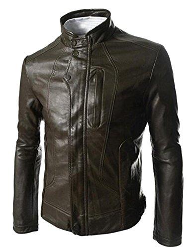 Ghope Men's Jacket Faux Leather Vintage Sweat Jacket Biker Bomer Jakcet Outwear Kaffee
