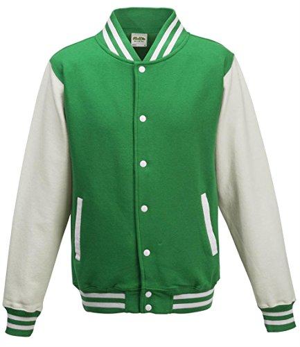 AWDis Herren Varsity Jacke Langärmlige Jacke - Green / white sleeves