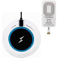 EooCoo Chargeur Sans Fil, Qi Chargeur à Induction et récepteur de recharge sans fil pour iPhone 7, 7 Plus, 6, 6 Plus, 6s, 6s Plus, 5, 5s, 5c