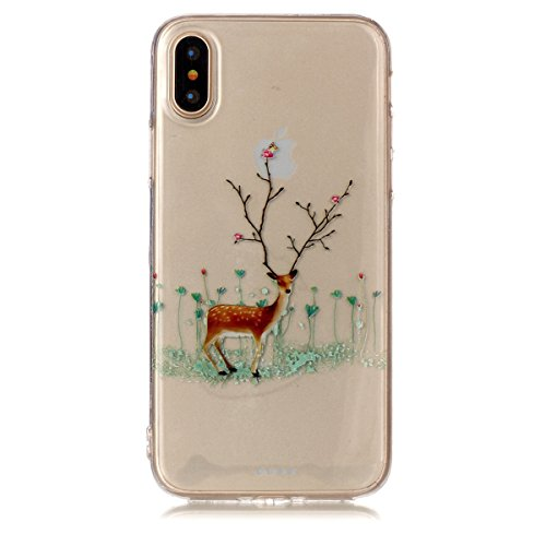 Christmas Hülle iPhone X LifeePro Weihnachts Cover Ultra dünn Weiches Transparent TPU Gel Silikon Handy Tasche Bumper Case Anti-Scratch Back Cover Full Body Schutzhülle für iPhone X Branch Elk Branch Elk