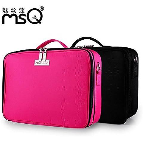 Meydlee cosmetici caso Nylon Cerniera portatile cosmetici borsa a tracolla per viaggio con regolabile divisori progettato per montare tutti i cosmetici rosa, nero , red: b02r