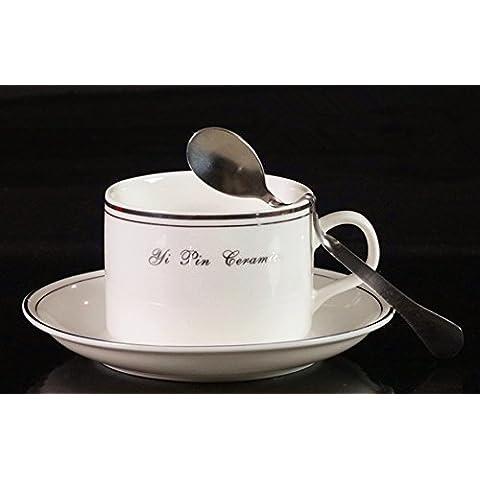 beibeilove Bone China Coffee Cup Love Disco cintura–Cucchiaio tazza e piattino 5ml, colori assortiti Platinum Rim Trim