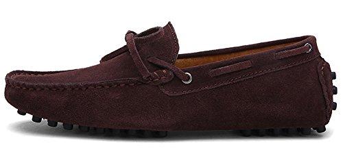 ZEROLING Herren Quaste Lederne Schuhe Suede Loafers Braun