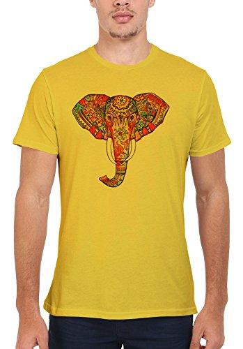 Elephant Ethnic Drawing Colourful Cool Men Women Damen Herren Unisex Top T Shirt Licht Gelb